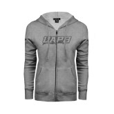 ENZA Ladies Grey Fleece Full Zip Hoodie-UAPB Word Mark Graphite Glitter