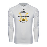 Under Armour White Long Sleeve Tech Tee-Baseball Circle w/ Seams