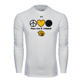 Under Armour White Long Sleeve Tech Tee-Peace Love & Volleyball