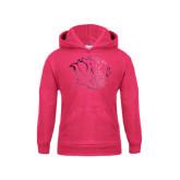 Youth Raspberry Fleece Hoodie-Golden Lion Head Foil