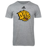 Adidas Sport Grey Logo T Shirt-Golden Lion Head