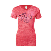 Next Level Ladies Junior Fit Fuchsia Burnout Tee-Golden Lion Head Foil