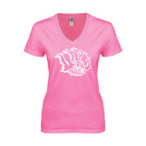Next Level Ladies Junior Fit Deep V Pink Tee-Golden Lion Head