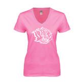 Next Level Ladies Junior Fit Deep V Pink Tee-Golden Lion Head