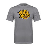 Performance Grey Concrete Tee-Golden Lion Head