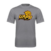 Performance Grey Concrete Tee-UAPB Lion Head Stacked