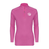 Ladies Syntrel Interlock Raspberry 1/4 Zip-Golden Lion Head