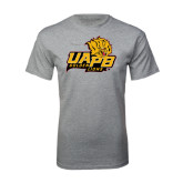 Grey T Shirt-UAPB Lion Head Stacked