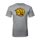Grey T Shirt-Golden Lion Head Distressed