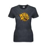 Ladies Dark Heather T Shirt-Golden Lion Head