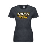 Ladies Dark Heather T Shirt-UAPB Golden Lions Stacked