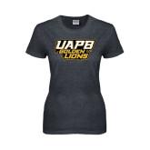 Ladies Dark Heather T Shirt-UAPB Golden Lions Stacked