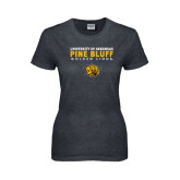 Ladies Dark Heather T Shirt-University of Arkansas Pine Bluff Golden Lions