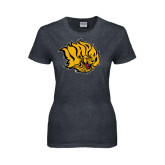 Ladies Dark Heather T Shirt-Golden Lion Head Distressed