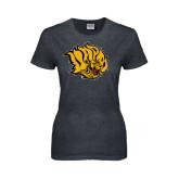 Ladies Dark Heather T Shirt-Golden Lion Head Distressed