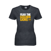 Ladies Dark Heather T Shirt-Fear The Golden Lions