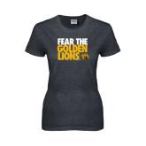 Ladies Dark Heather T Shirt-Fear The Golden Lions