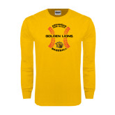 Gold Long Sleeve T Shirt-Baseball Circle w/ Seams