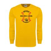 Gold Long Sleeve T Shirt-Baseball Circle w/ Seams