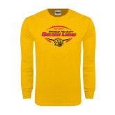 Gold Long Sleeve T Shirt-Golden Lions Football in Ball