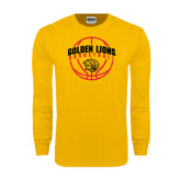 Gold Long Sleeve T Shirt-Basketball  Arched w/ Ball