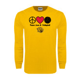 Gold Long Sleeve T Shirt-Peace Love & Volleyball