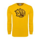 Gold Long Sleeve T Shirt-Golden Lion Head Distressed