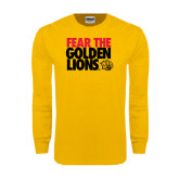 Gold Long Sleeve T Shirt-Fear The Golden Lions