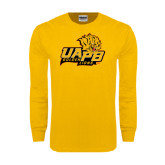 Gold Long Sleeve T Shirt-UAPB Lion Head Stacked