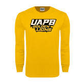 Gold Long Sleeve T Shirt-UAPB Golden Lions Stacked