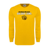 Gold Long Sleeve T Shirt-Arkansas Pine Bluff Golden Lions