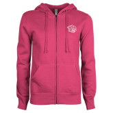 ENZA Ladies Fuchsia Fleece Full Zip Hoodie-Golden Lion Head