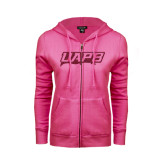 ENZA Ladies Fuchsia Fleece Full Zip Hoodie-UAPB Word Mark Hot Pink Glitter