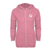 ENZA Ladies Hot Pink Marled Full Zip Hoodie-Golden Lion Head