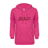 ENZA Ladies Hot Pink V Notch Raw Edge Fleece Hoodie-UAPB Word Mark Hot Pink Glitter