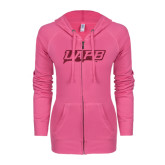 ENZA Ladies Hot Pink Light Weight Fleece Full Zip Hoodie-UAPB Word Mark Hot Pink Glitter