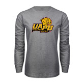 Grey Long Sleeve T Shirt-UAPB Lion Head Stacked