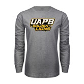 Grey Long Sleeve T Shirt-UAPB Golden Lions Stacked