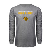 Grey Long Sleeve T Shirt-University of Arkansas Pine Bluff Golden Lions
