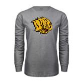 Grey Long Sleeve T Shirt-Golden Lion Head Distressed