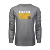 Grey Long Sleeve T Shirt-Fear The Golden Lions