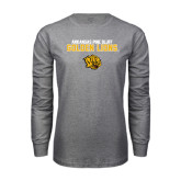 Grey Long Sleeve T Shirt-Arkansas Pine Bluff Golden Lions