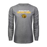 Grey Long Sleeve T Shirt-Arkansas Pine Bluff Golden Lions