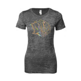 Next Level Ladies Junior Fit Dark Grey Burnout Tee-Golden Lion Head Foil