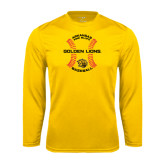 Performance Gold Longsleeve Shirt-Baseball Circle w/ Seams