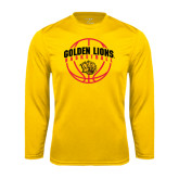 Syntrel Performance Gold Longsleeve Shirt-Basketball  Arched w/ Ball