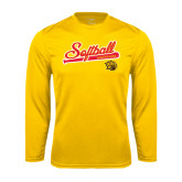 Syntrel Performance Gold Longsleeve Shirt-Softball Script