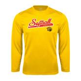 Performance Gold Longsleeve Shirt-Softball Script