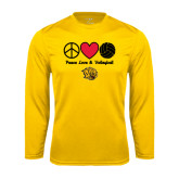 Syntrel Performance Gold Longsleeve Shirt-Peace Love & Volleyball