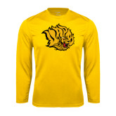 Syntrel Performance Gold Longsleeve Shirt-Golden Lion Head